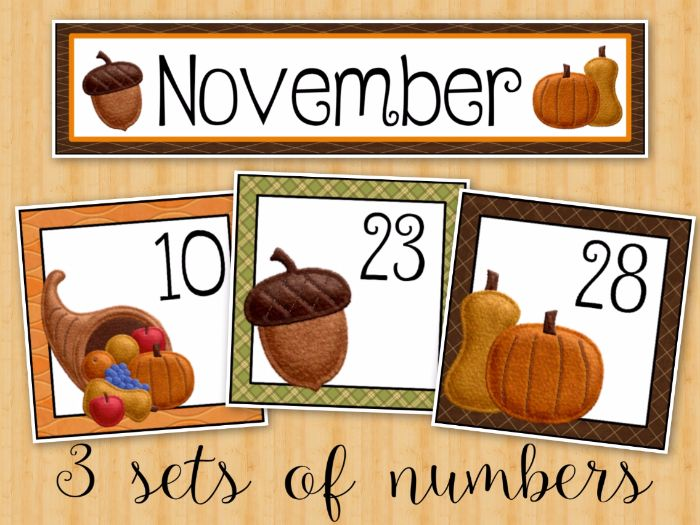 November Calendar Cards by FishyTeacher - Teaching Resources - Tes