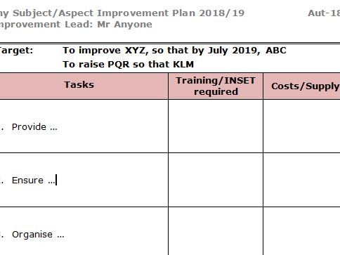 Improvement Plan template for subject leaders by markmccadden