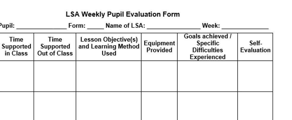 LSA Weekly Pupil evaluation form by Krayna - Teaching Resources - Tes