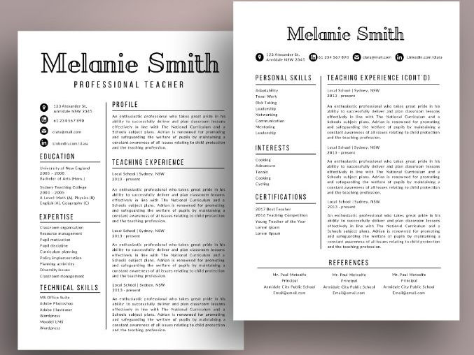 Modern teacher resume cv template for MS PowerPoint (pptx) by