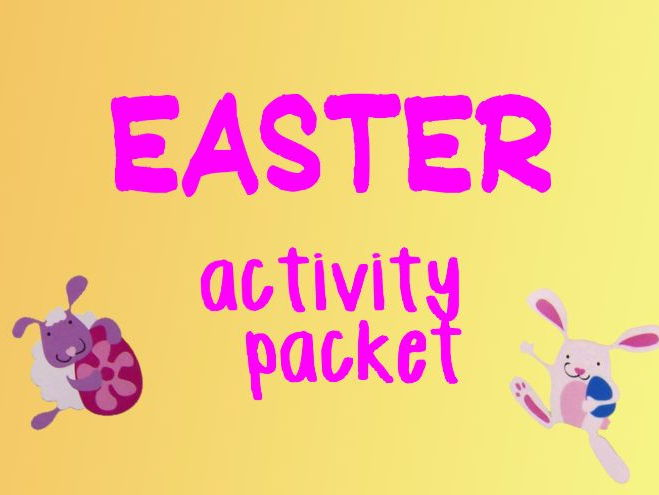 Easter activity pack - wordsearch, crafts, card template, egg, by