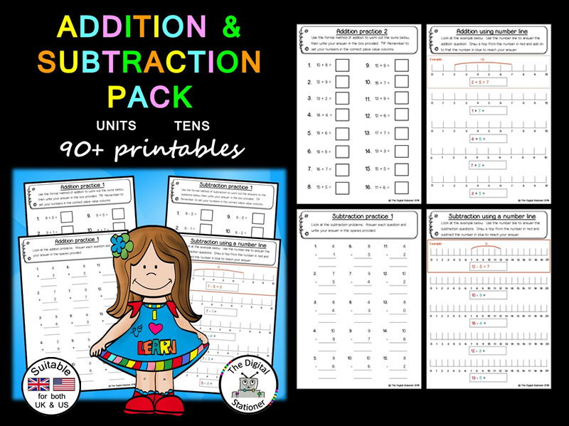 Addition and Subtraction Pack Whole Numbers (Units  Tens) (suitable