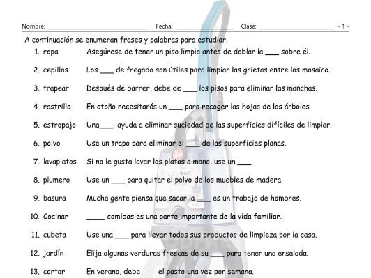 Household Chores and Cleaning Supplies Spanish Study Sheet by