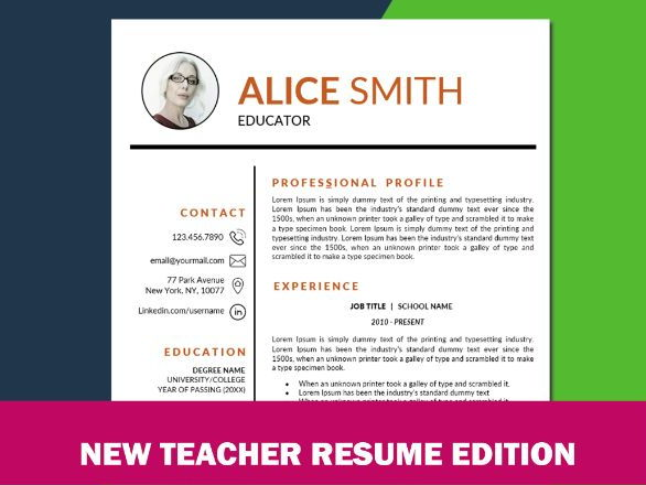 TEACHER RESUME Template with Photo for MS Word, Elementary Educator