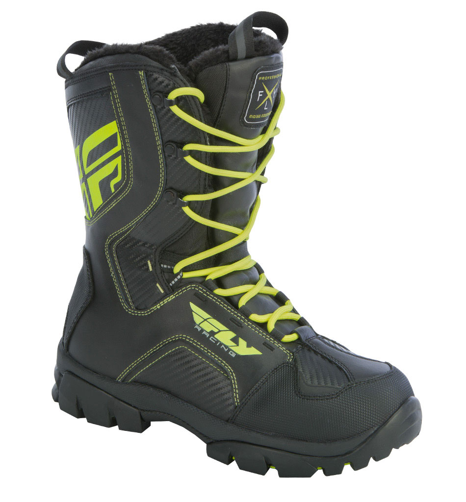 Fly Racing Snow Snowmobile Marker Boots Black Hi Vis