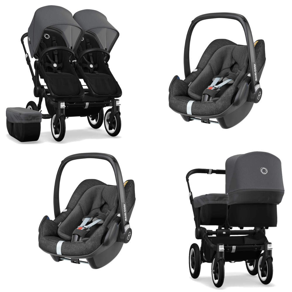 Double Pushchair Bugaboo Bugaboo Donkey 2 Twin Black 2x Pebble Plus Travel System