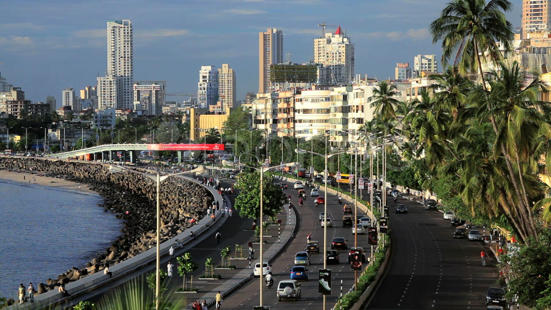 Mumbai City Wallpaper Hd Beach And Marine Drive With The Skyline Of Mumbai City In