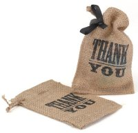 Small Burlap Gift Bags - Thank You Design (Set of 25)