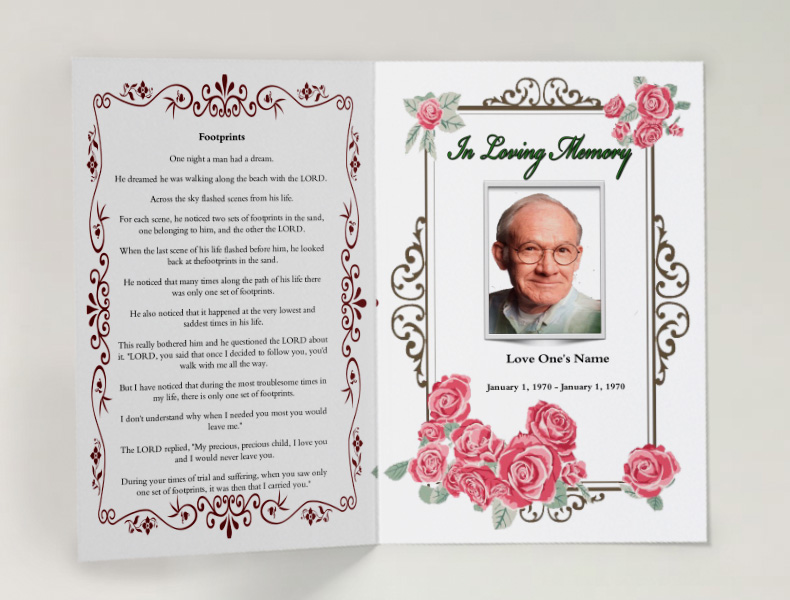 Pink Floral Funeral Template Funeral Program Template