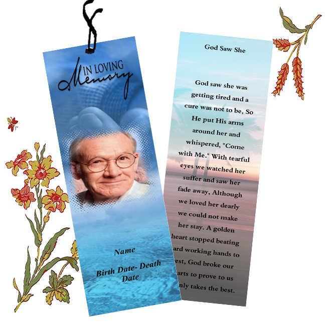 Funeral Bookmarks Template Templates for Funeral Bookmarks