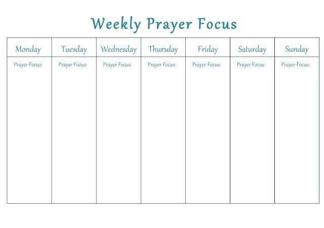 Free Weekly Prayer Focus Printable - 24/7 Moms