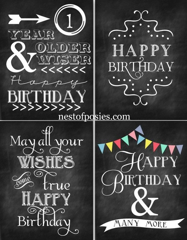 Free Happy Birthday Chalkboard Printables - 24/7 Moms