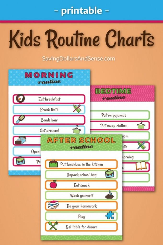 Free Kids Routine Chart Printables - 24/7 Moms