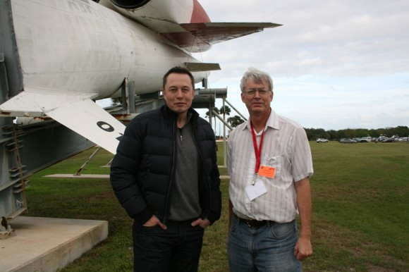 SpaceX CEO Elon Musk and Ken Kremer of Universe Today discuss Falcon 9/SES-8 launch by SpaceX Mission Control at Cape Canaveral Air Force Station. Florida.  Credit: Ken Kremer/kenkremer.com