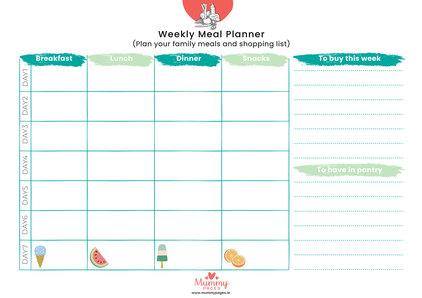 Weekly Meal Planner MummyPagesMummyPagesie