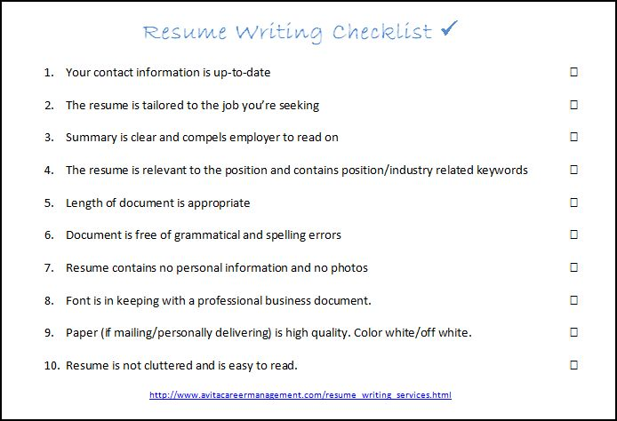 Interview Success Coach Resume Writing Checklist