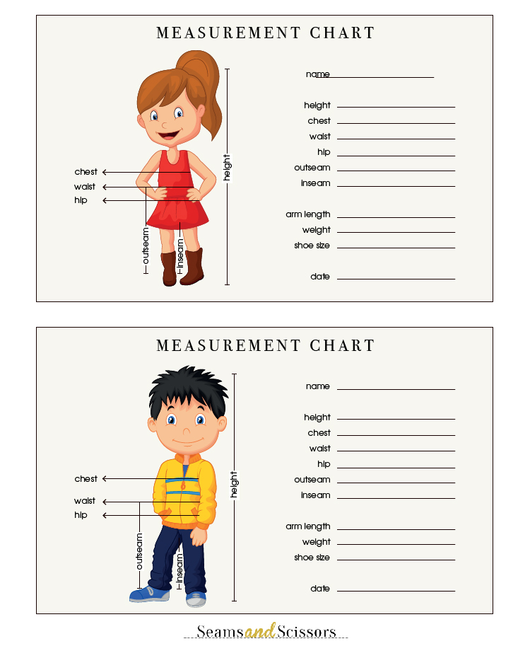 How to Take Body Measurements + Free Printable Size Chart - Seams