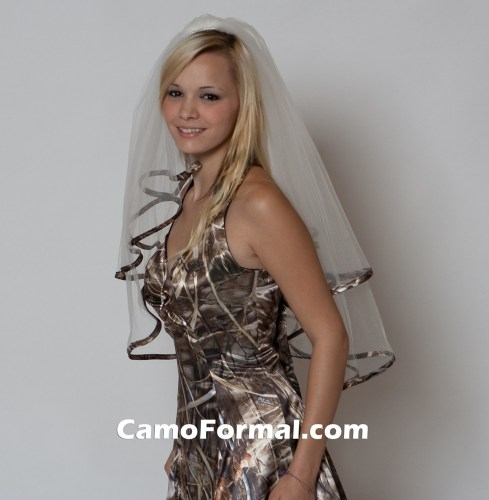 veil camo trimmed waist length camouflage wedding dress Veil Trimmed in Realtree MAX 4