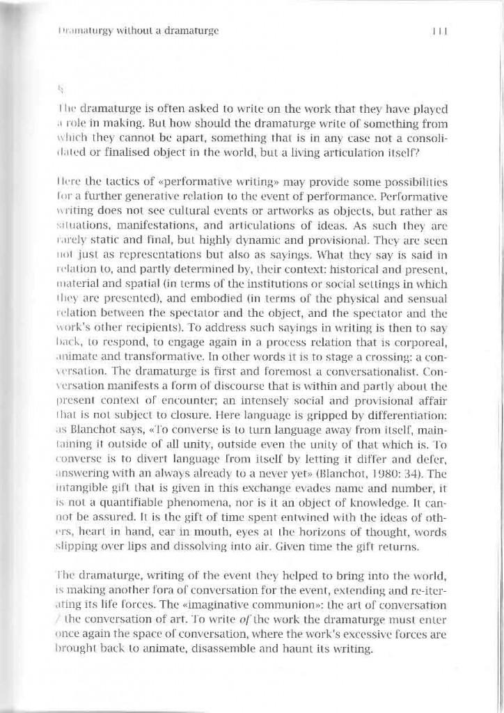Dramaturgy Without a Dramaturge \u2013 Adrian Heathfield