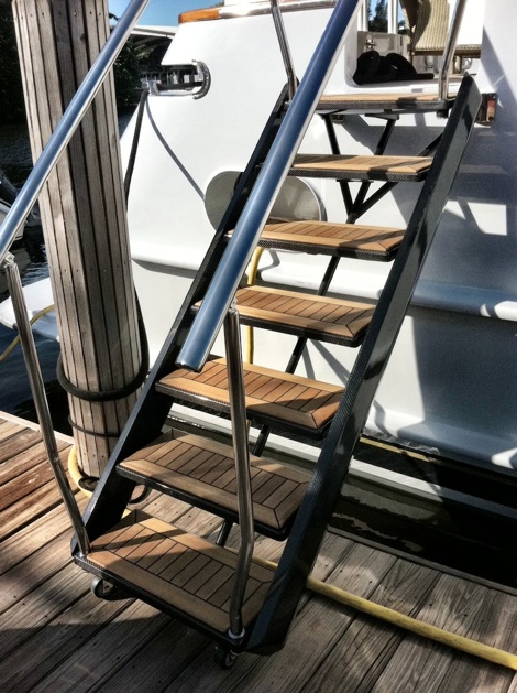 Stowable Carbon Fiber Boarding Stairs Yachts International