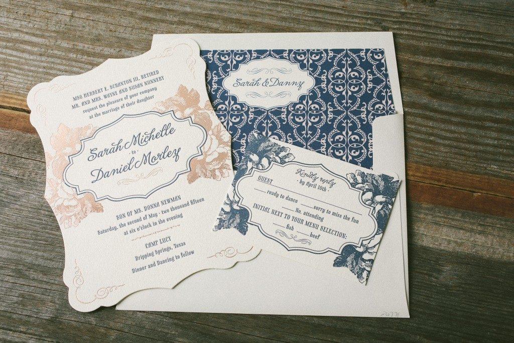 Navy And Rose Gold Wedding Invitations Bella Figura