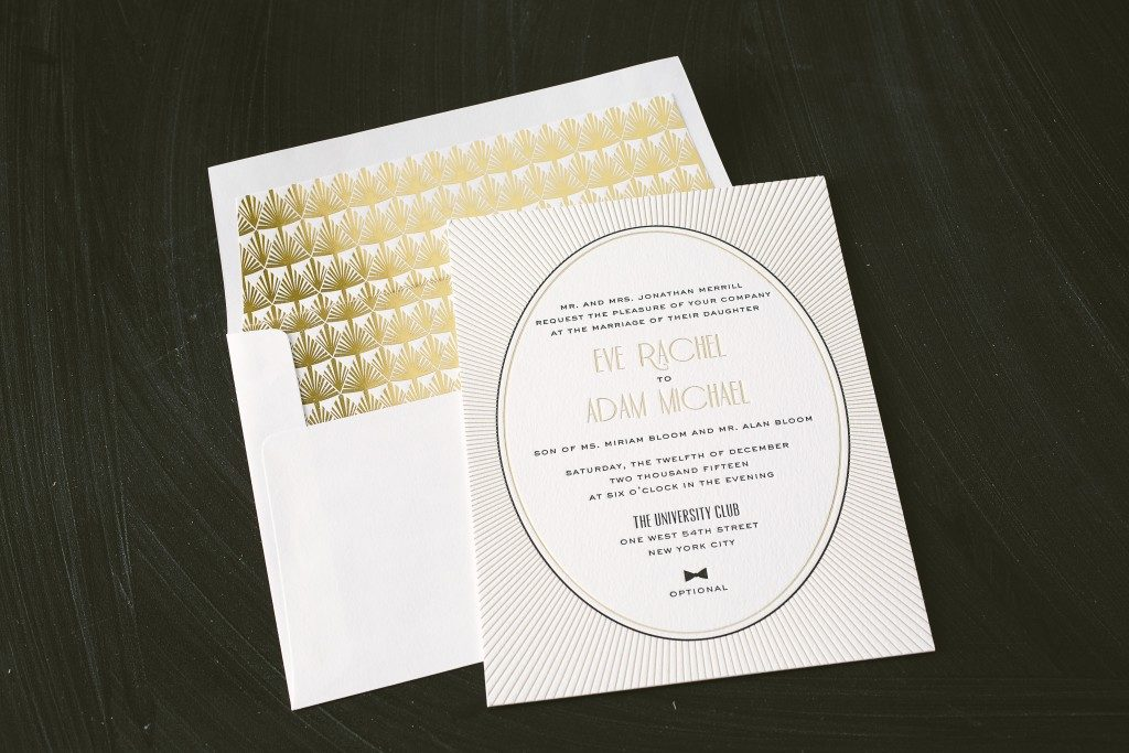 letterpress + gold foil art deco wedding invitations - Bella Figura