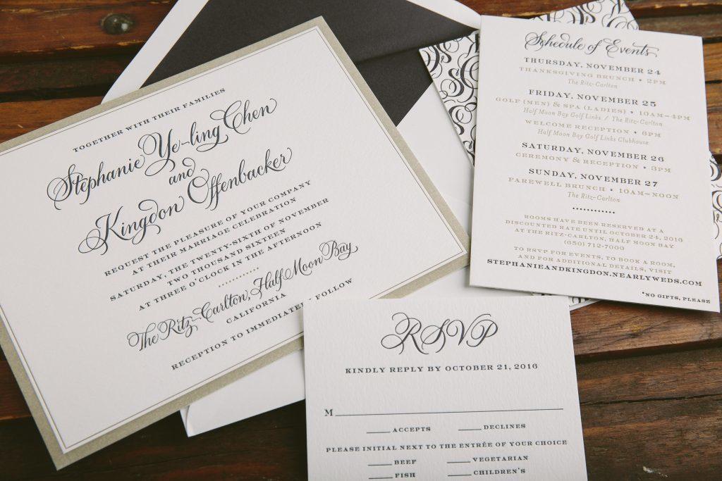 letterpress wedding invitations featuring hand calligraphy - Bella