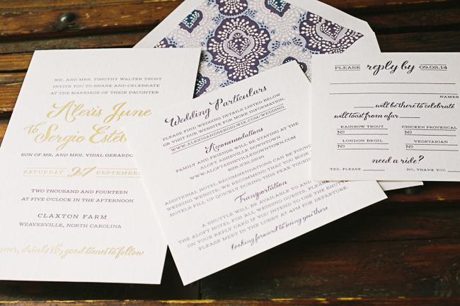 Gold Plum Letterpress Wedding Invitations From Smock