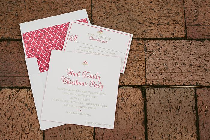 Custom letterpress Christmas party invitations