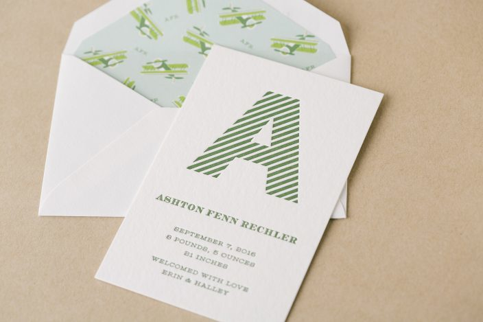 letterpress baby announcement - Smock