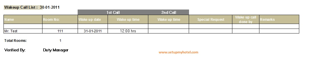 Front Desk - Wake up call Report - sample call sheet