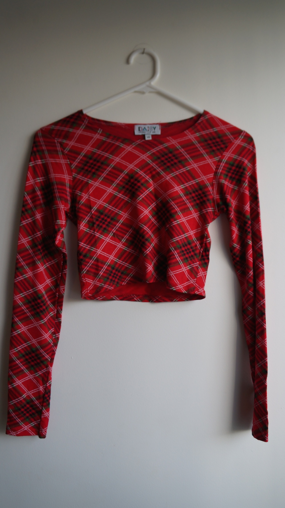 Xs Long Daisy Street Red Plaid Tartan Long Sleeve Crop Top Xs From Marla S Vintage Garments