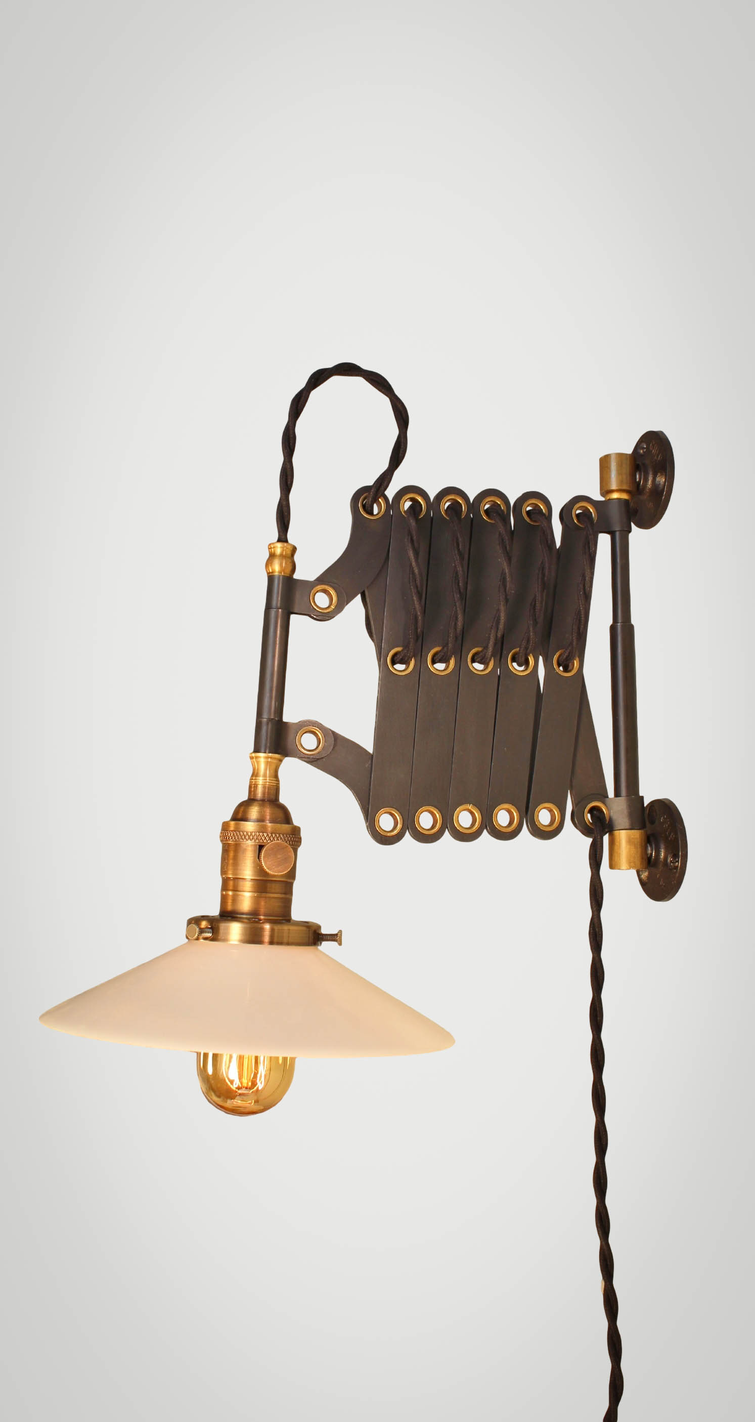 Swing Wall Lamp Vintage Industrial Scissor Light Expandable Accordion Swing Arm Wall Sconce Steampunk Lamp Black Steel Industrial Lighting From Dw Vintage