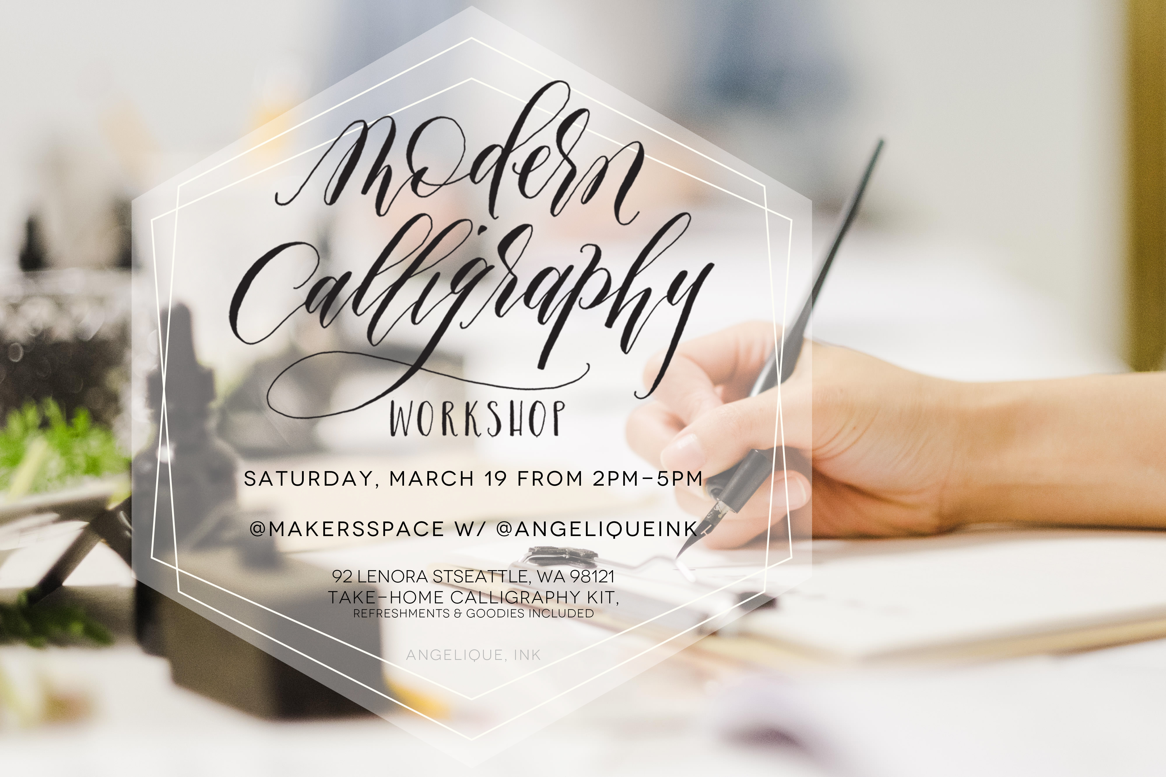 Calligraphy For Beginners Online March 19 Seattle Modern Calligraphy Workshop From Angeliqueink