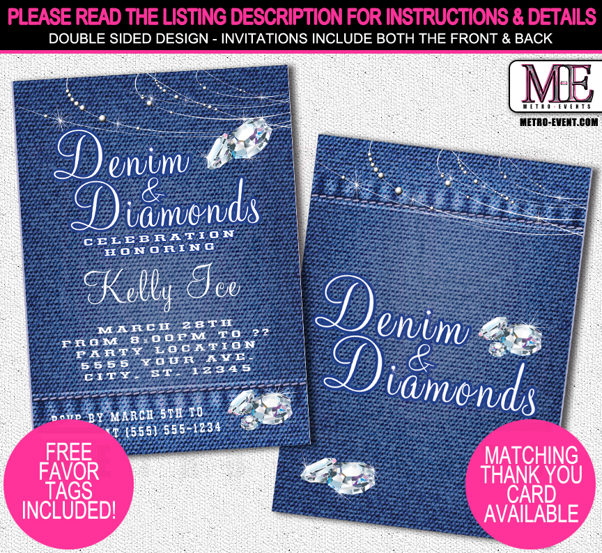 Denim and Diamonds Invitations Metro-Events Metro-Events Party
