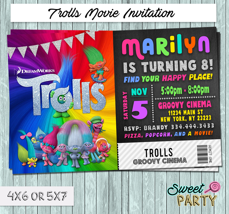 Dreamworks Trolls 2016 Movie Ticket Invitation - You Print Party