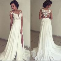 Pretty white A-lin chiffon lace long prom dress,evening ...