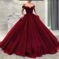 Fashionable Poofy Ball Gown Burgundy Wedding Dresses Off ...