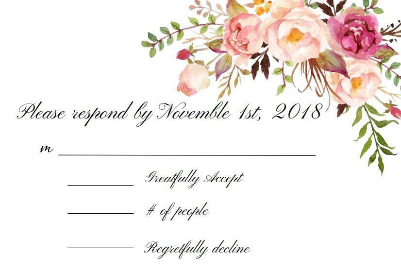 Personalized RSVP Card/Response Card/Reception Card Free Printing