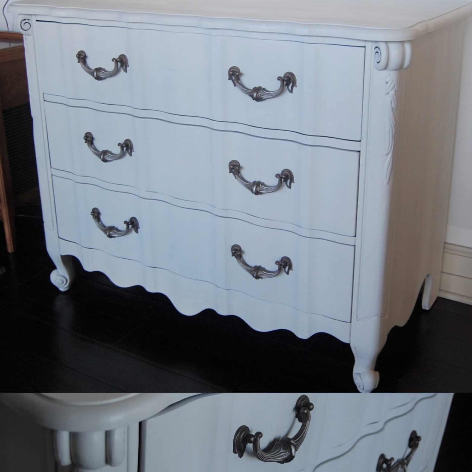 Lowboy Dresser White Three Drawer French Provincial Lowboy Dresser From Marinus Home Seattle