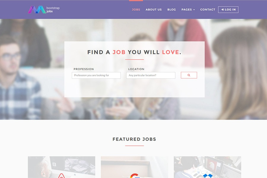 Bootstrap 4 Job Board Template - 15 pages, 6 colours, SASS files and - job template