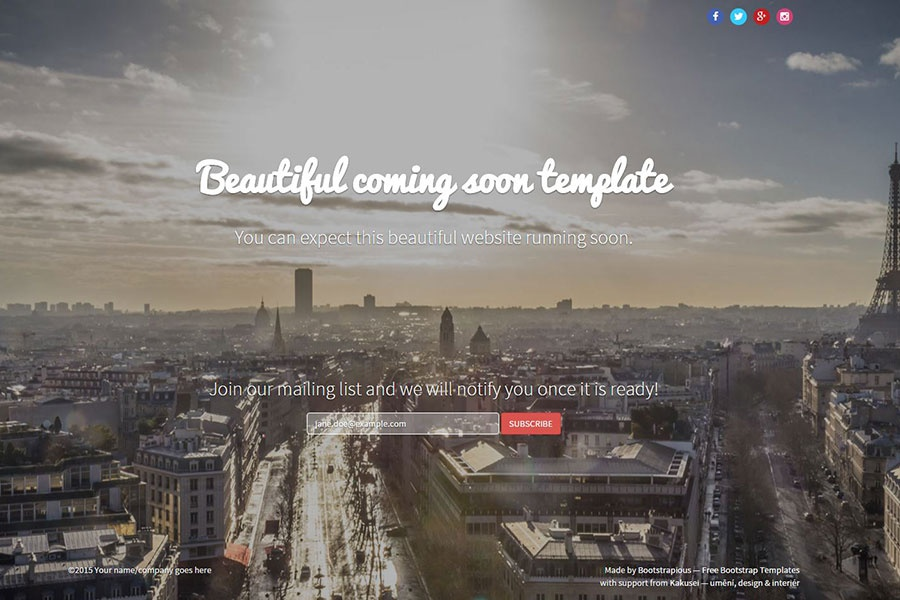 Coming Soon Template Free Bootstrap Templates