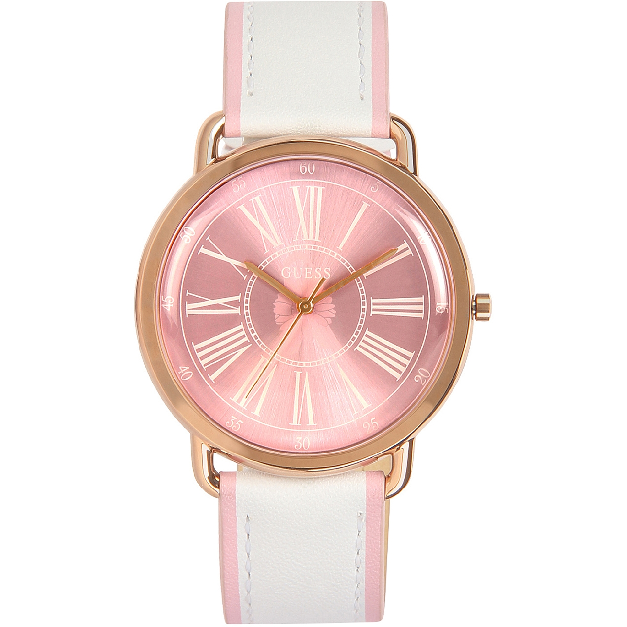 Leather Strap Rose Gold Watch Guess Sparkling Pink Watch W0032l8