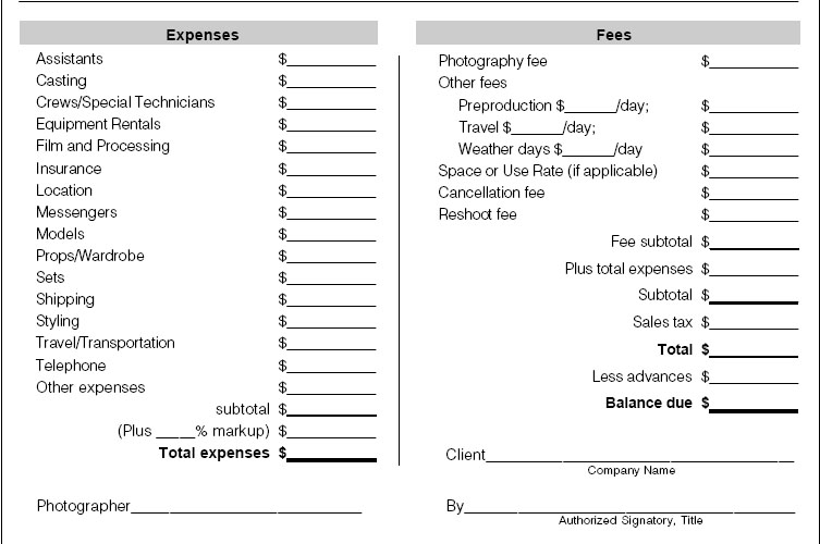 invoice sample Photonet Photography Forums