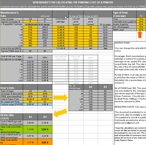 Printing Cost Calculation Spreadsheet Photonet Photography Forums