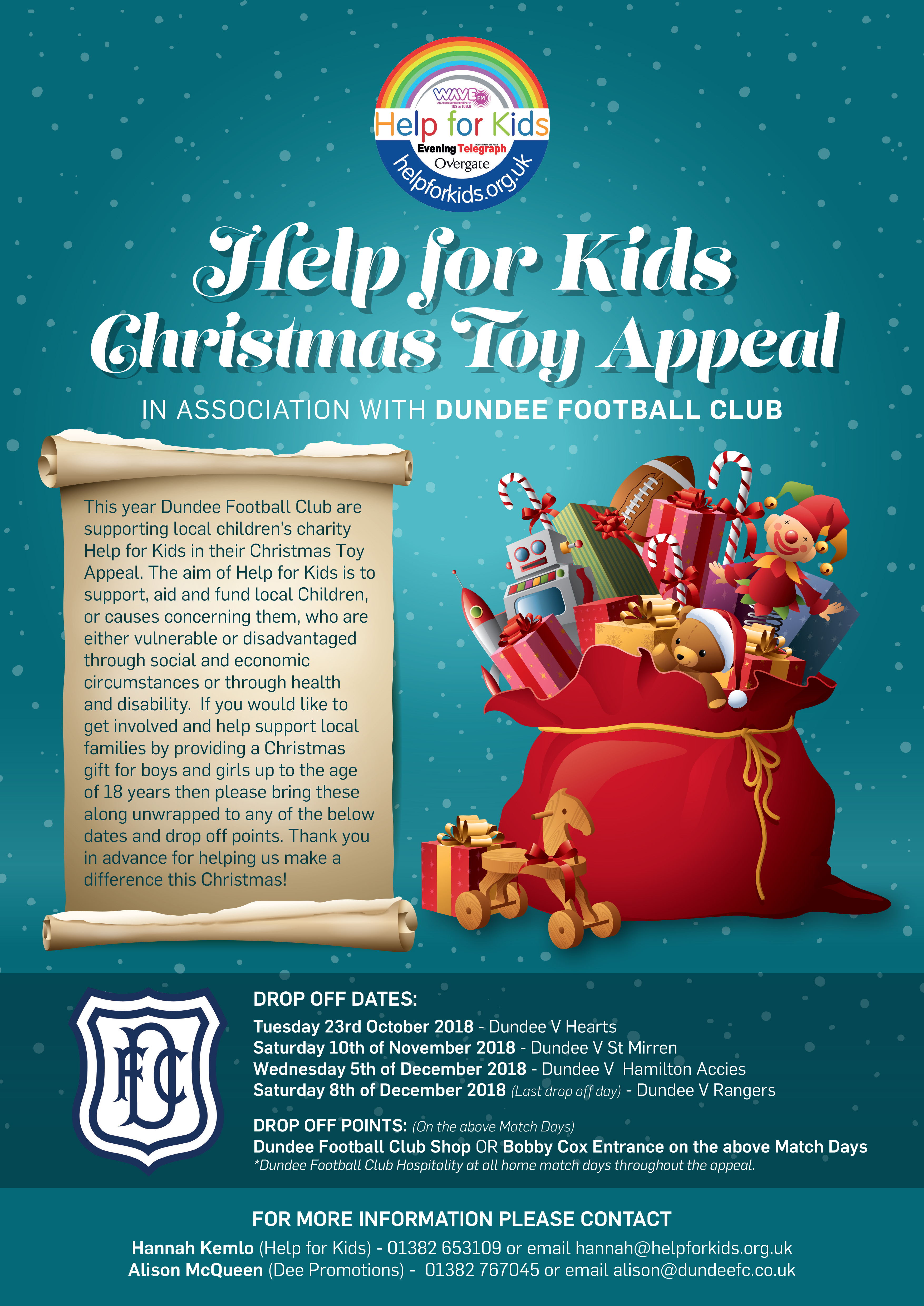 Poster Shop Perth Dundee Fc Christmas Toy Appeal Poster Social Dundee Football