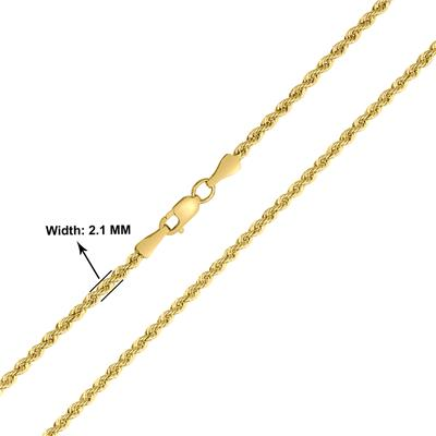 14K Yellow Gold Filled 21MM Rope Chain with Lobster Clasp - 24 Inch