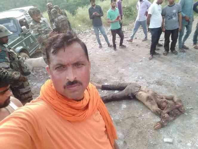 Bajrang Dal vice president, Rakesh Sharma, at the site of gunfight in Kakriyal.