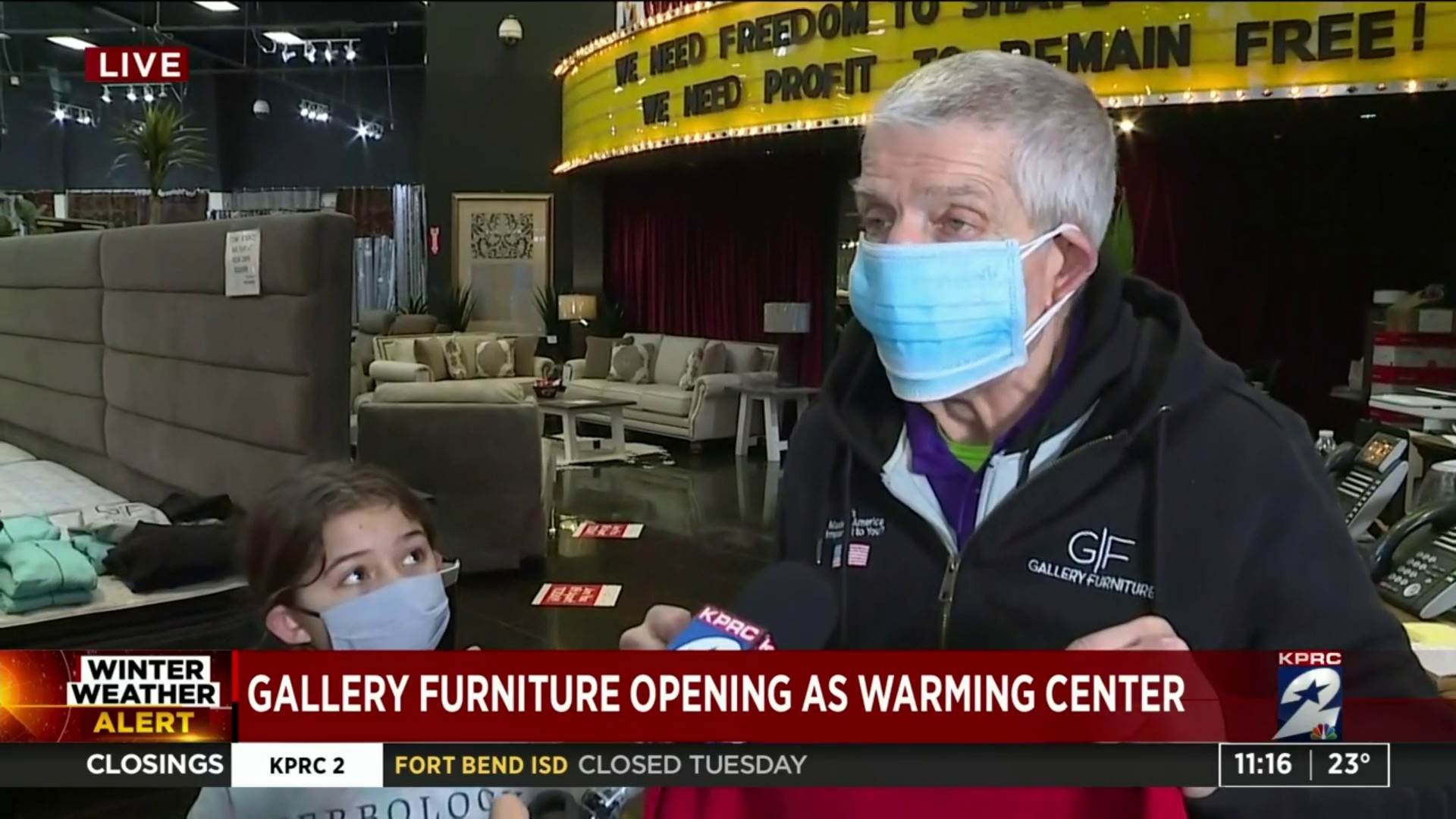 Gallery Furniture Opens 2 Locations As Warming Shelters