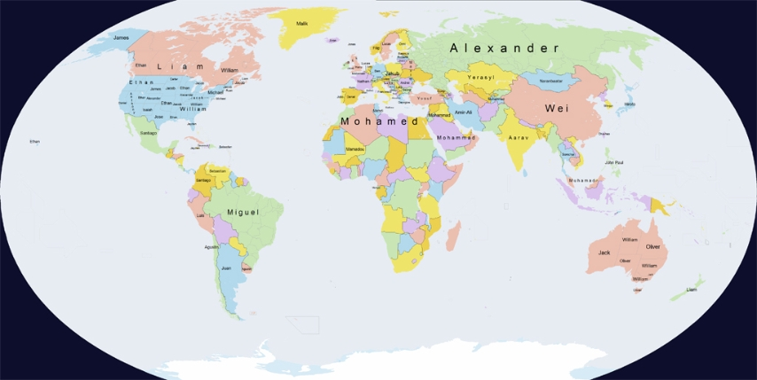 La mappa dei nomi più diffusi nel mondo - cartina mondo